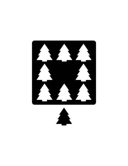 """""""Nine trees aligning"""" die-cut design"""
